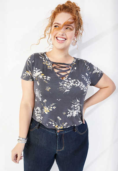 plus size 24/7 floral strappy neck tee