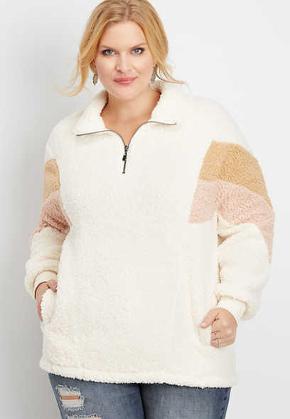 plus size chevron colorblock sherpa pullover sweatshirt
