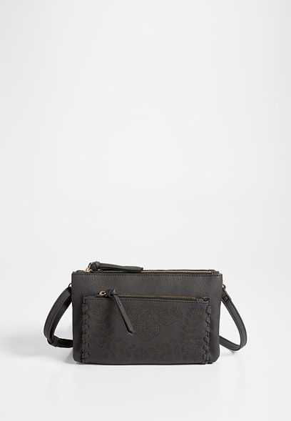 faux leather perforated crossbody bag
