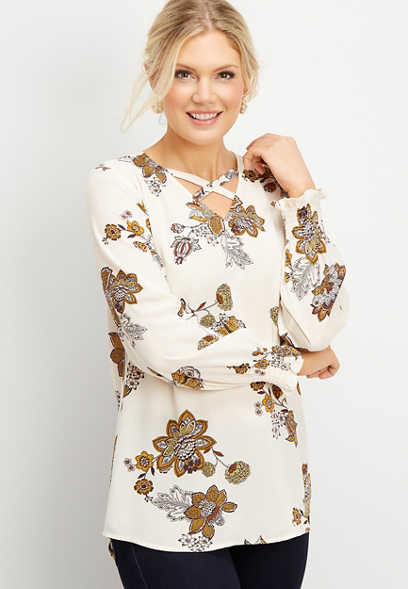floral strappy neck tunic blouse