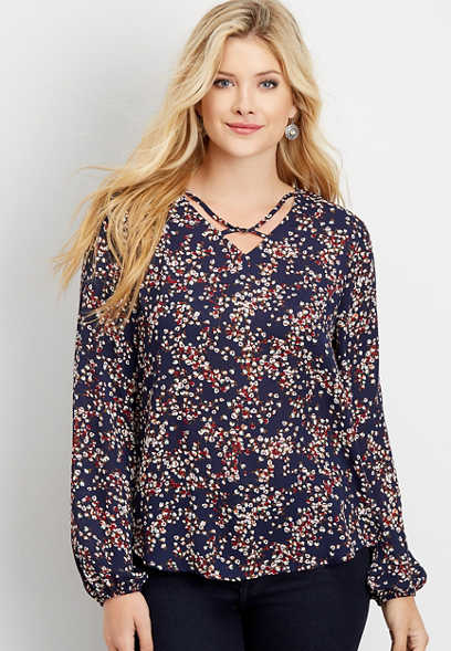 floral twisted lattice neck blouse