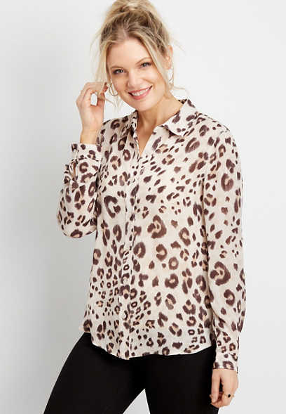 leopard button down blouse