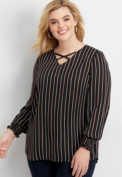 plus size stripe strappy neck tunic blouse