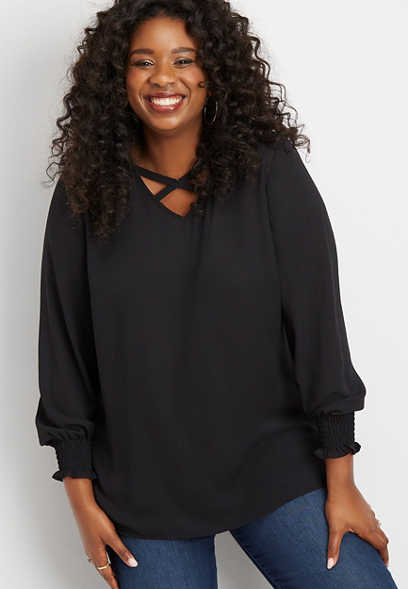 plus size solid strappy neck tunic blouse