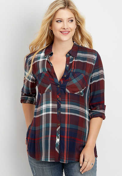 plaid tunic button down shirt
