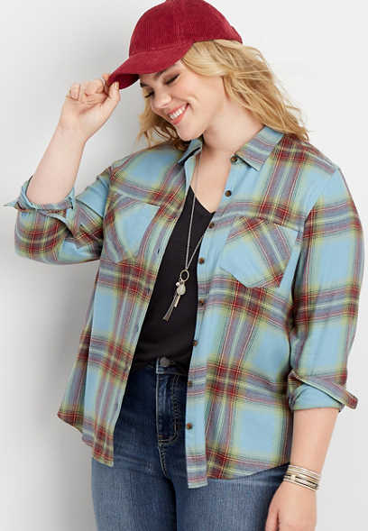 plus size flannel plaid button down shirt