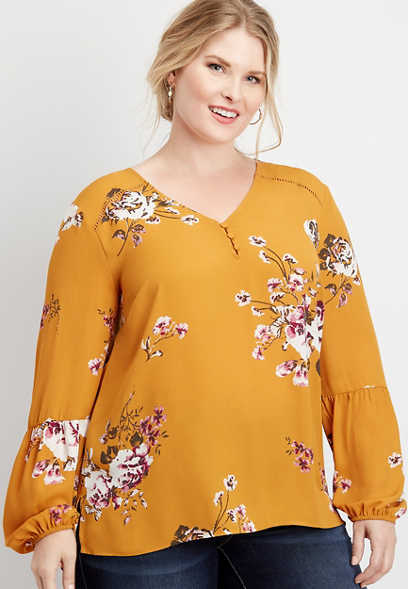 plus size floral lantern sleeve blouse