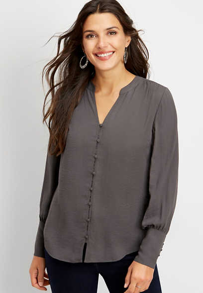 solid covered button blouse