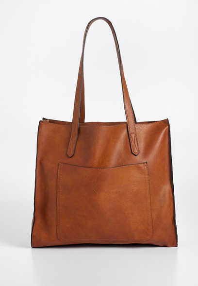 distressed tote with pocket