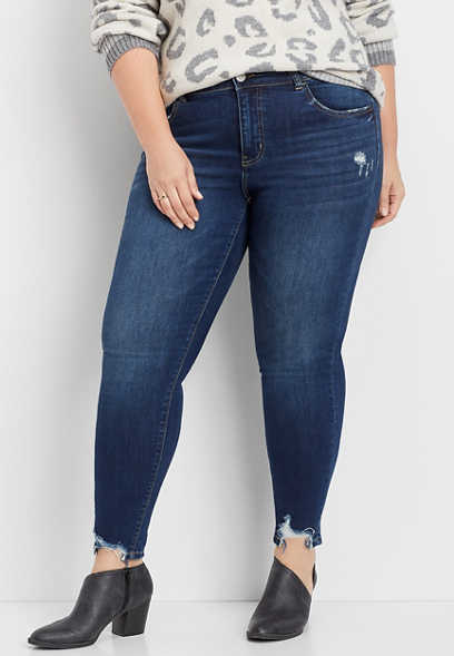 plus size Flying Monkey™ destructed hem skinny jean