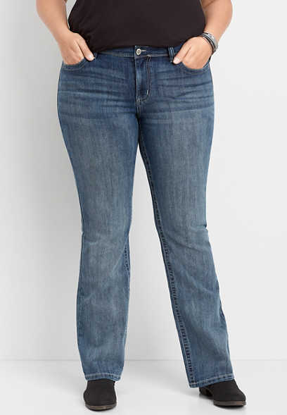Plus Size DenimFlex™ Medium Wash Gray Stitch Slim Boot Jean