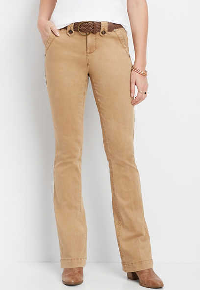 belted chino bootcut pant