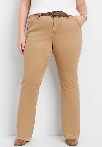 plus size belted chino bootcut pant