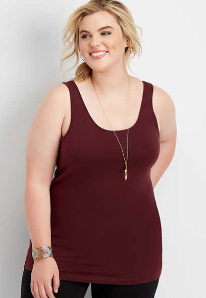 plus size solid scoop neck layering tank