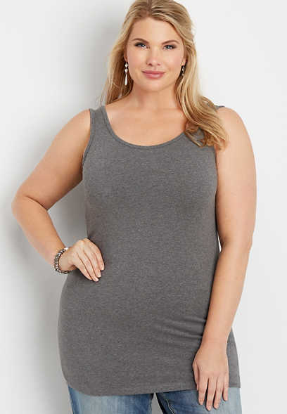 plus size solid tunic layering tank