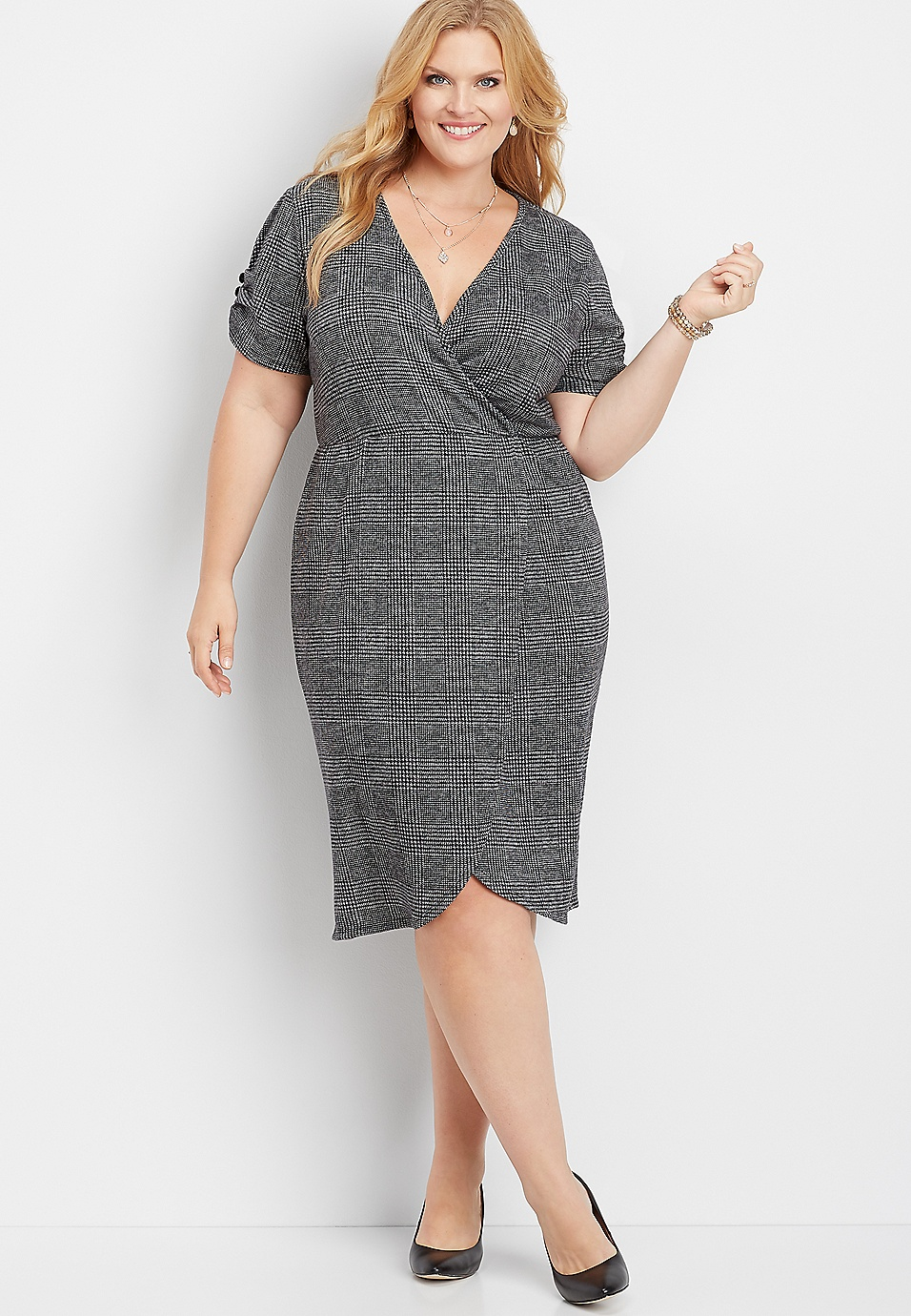 plus size menswear plaid wrap midi dress