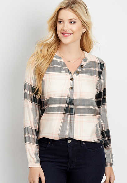 plaid long sleeve pullover top