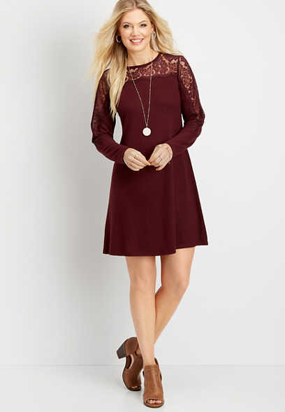 long sleeve lace illusion shift dress