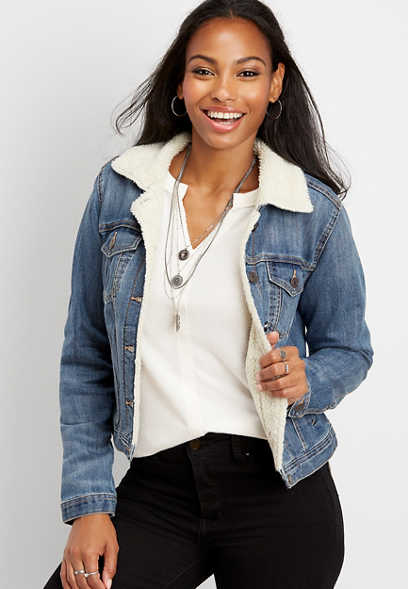 sherpa trim denim jacket