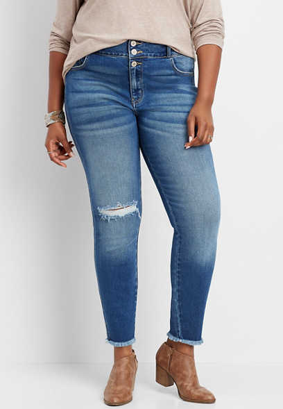 plus size KanCan™ high rise frayed hem skinny jean