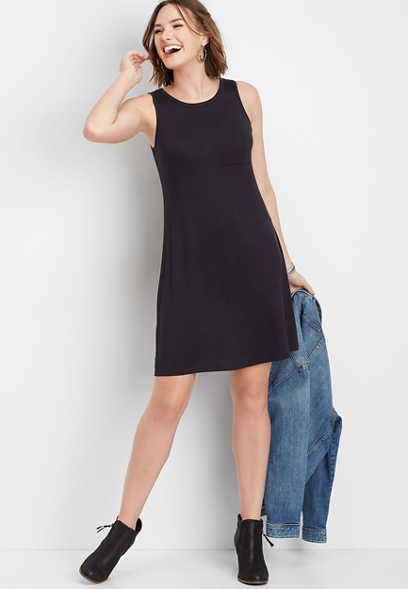 24/7 solid front pocket t-shirt dress