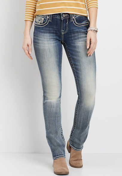 Vigoss® embellished flap pocket straight leg jean