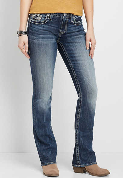 Vigoss® Embellished Pocket Slim Boot Jean