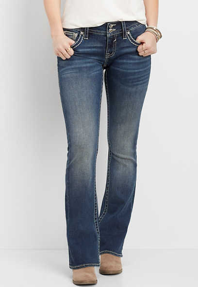 Vigoss® thick stitch flap pocket bootcut jean