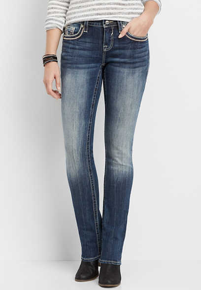 Vigoss® pink stitch pocket straight leg jean