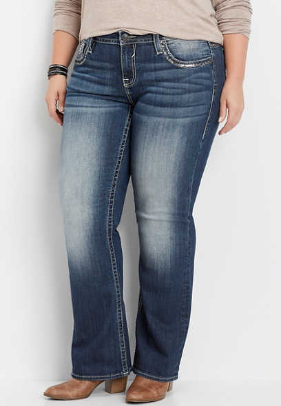 plus size Vigoss® embellished pocket dark wash bootcut jean