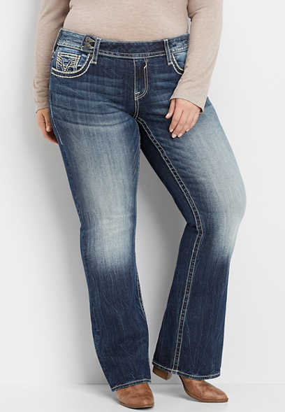plus size Vigoss® extend tab waist dark slim boot jean