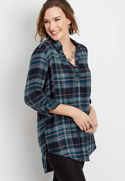 plaid long sleeve pullover tunic top