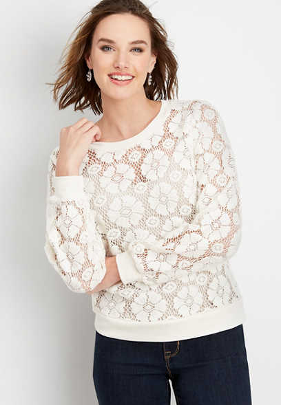 flower lace crew neck pullover