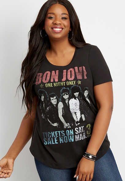 plus size Bon Jovi graphic tee
