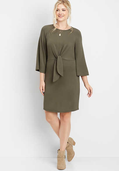 solid front tie sweatshirt dress