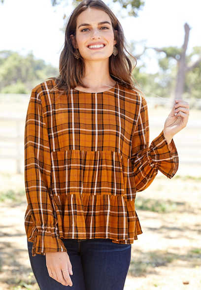 plaid tiered peasant blouse
