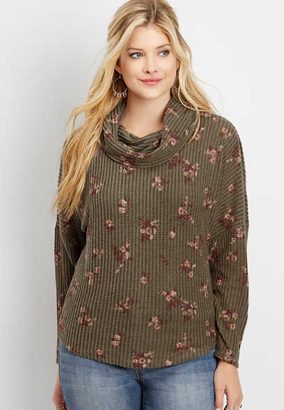 ditsy floral lace up back cowl neck pullover