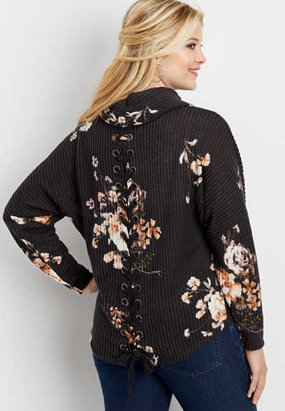 floral lace up back cowl neck pullover