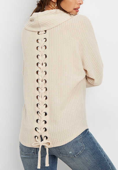 solid lace up back cowl neck pullover