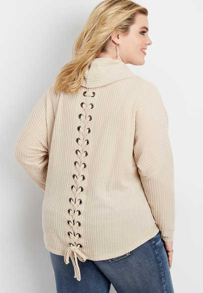 plus size solid lace up back cowl neck pullover