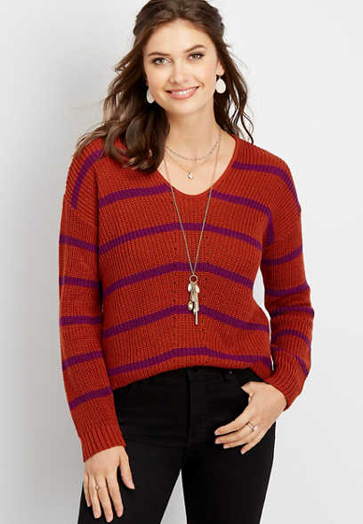 stripe v-neck pullover