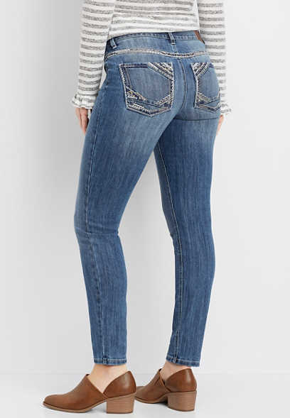 DenimFlex™ medium wash embellished pocket skinny jean