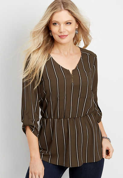 stripe elastic waist zip neck blouse