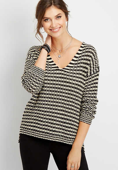 stripe open stich pullover