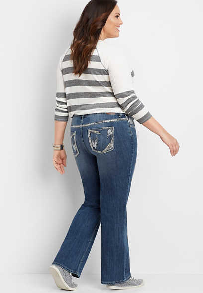 plus size DenimFlex™ dark wash embellished pocket bootcut jean