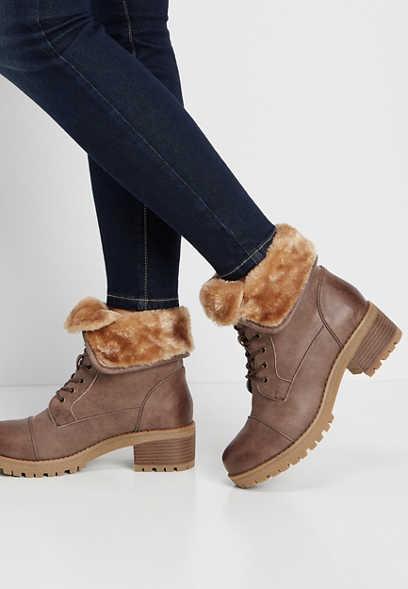 Wanda faux fur foldover hiker boot