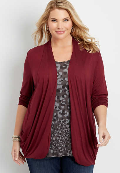 plus size long sleeve slouchy pocket cardigan