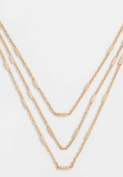 3 row gold chain necklace