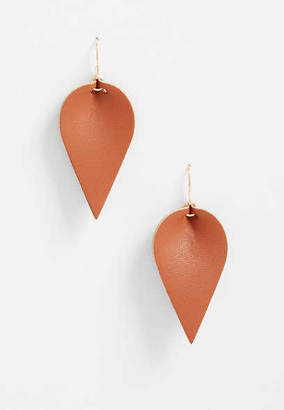 Folded Feather Drop Earrings