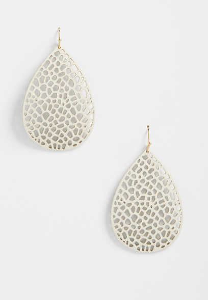 ivory teardrop faux leather earrings